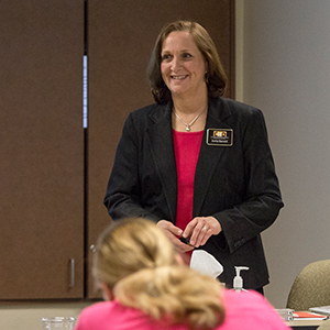 Picture of Anita Barrett in the classroom.